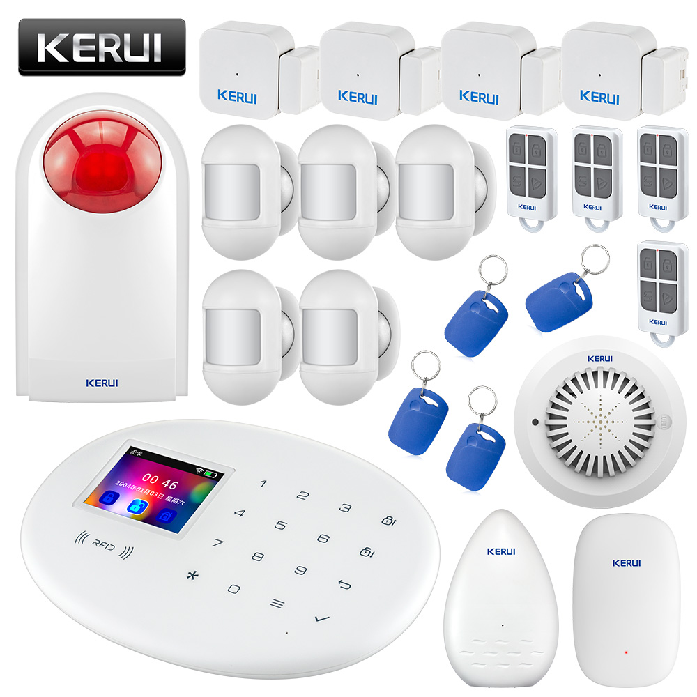 KERUI W20 Wireless WiFi GSM Home Security Alarm System 2.4 inch Color Screen Burglar Fire Smoke Water Leakage Alarm Kit