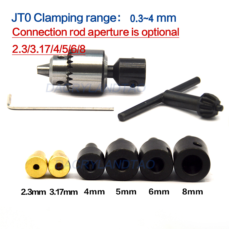 Micro 0.3-4mm Jt0 Drill Chucks Taper Mounted JTO Drill Chuck + 2.3mm/3.17mm/4mm/5mm/6mm/8mm Shaft Coupling