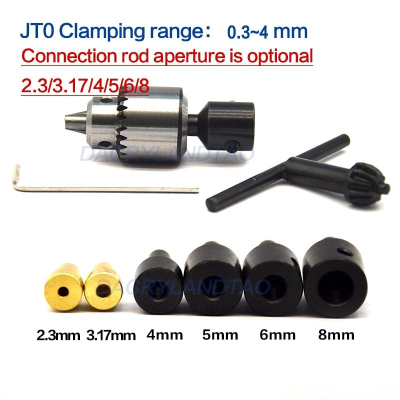 Micro 0.3-4mm Jt0 Drill Chucks Taper Mounted JTO Drill Chuck + 2.3mm/3.17mm/4mm/5mm/6mm/8mm Shaft Coupling