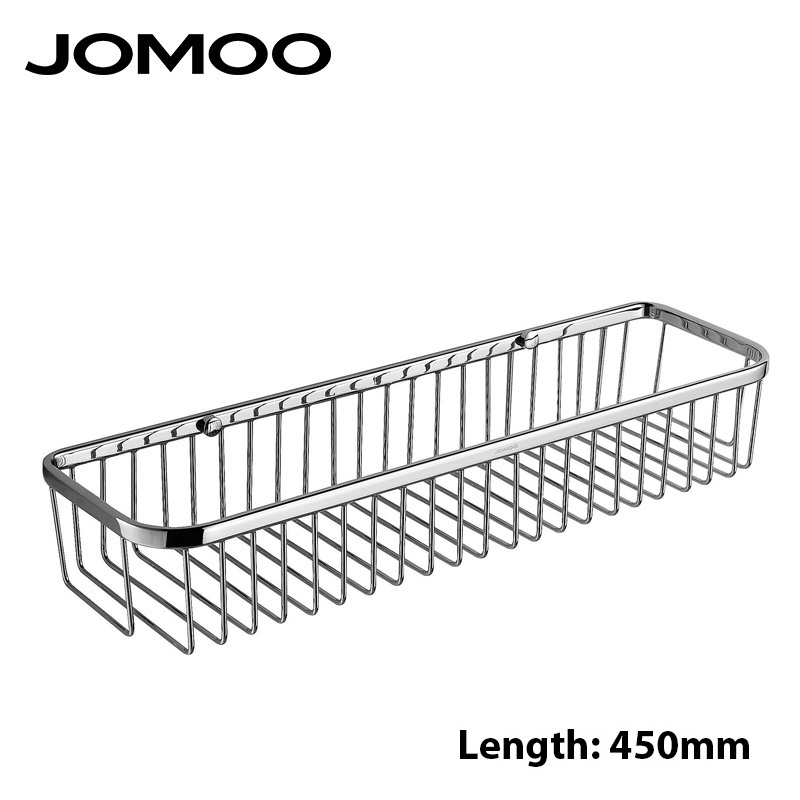 JOMOO Brass Made Wall Mount Single Tier Bathroom Shelf Shelves  Shampoo Soap Chrome Finish Bathroom basket Bathroom Accessories black bathroom shelves stainless steel 2 tier square shelf shower caddy storage shampoo basket kitchen corner shampoo holder