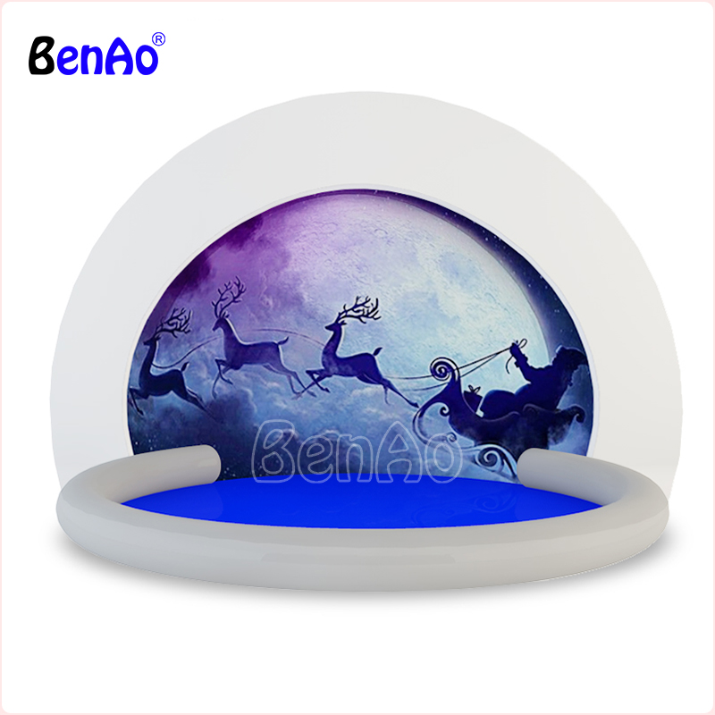 BenAo Free shipping+blower 3m Clear Inflatable Human Size Snow Globe with Tunnel/Ball pool bottom inflatable snow globe for sale free shipping 3m inflatable ice cream with blower hot sale inflatable oxford nylon cloth model for inflatable toys