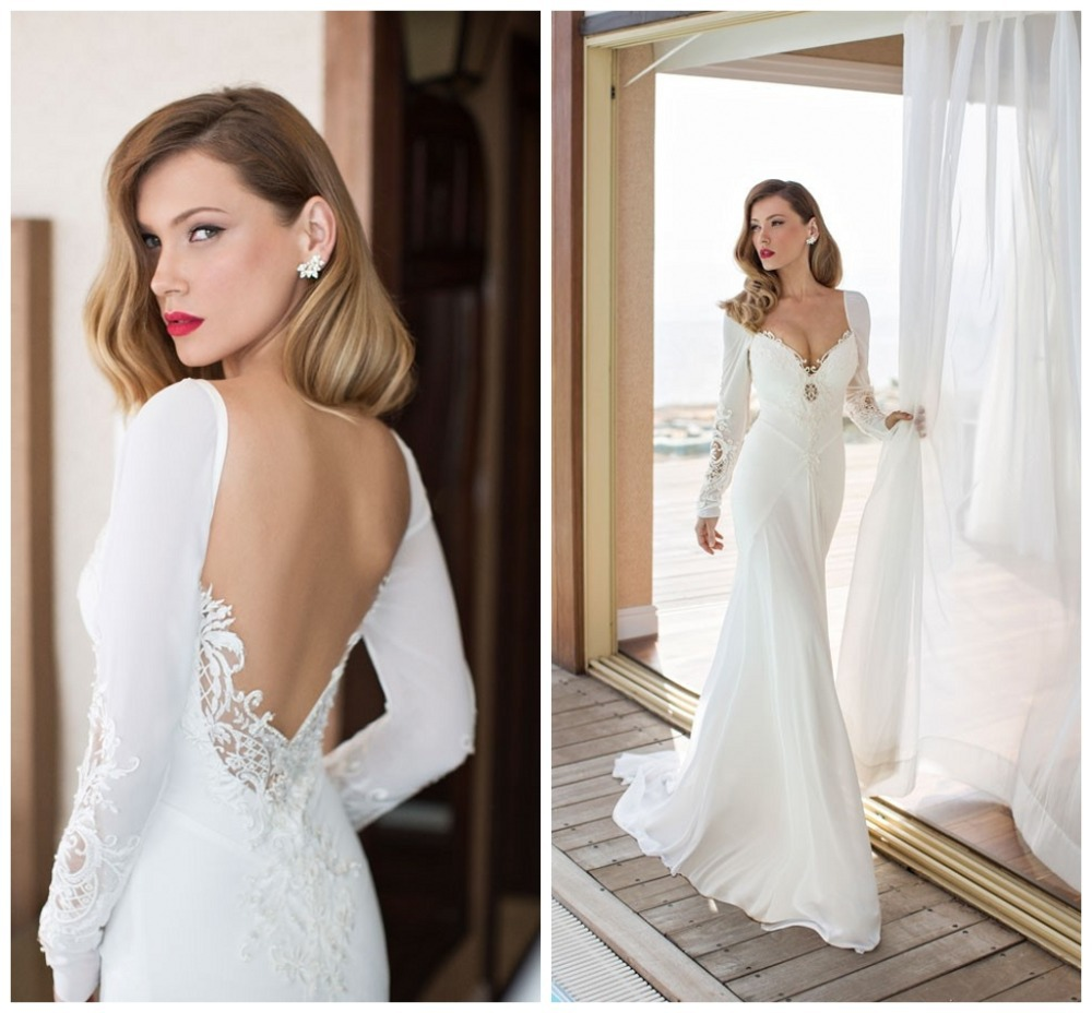 Bohemian style wedding dress mermaid chiffon long sleeve bridal bohemian style wedding dress mermaid chiffon long sleeve bridal gown lace sweetheart low cut vestido de novia casamento backless in wedding dresses from ombrellifo Images