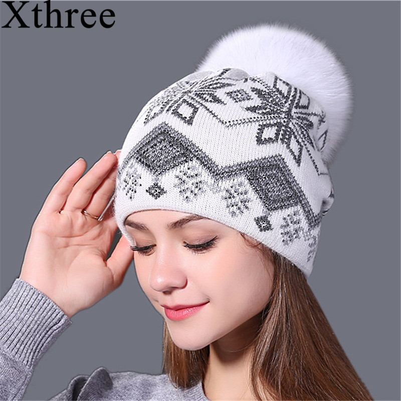 9c31418cd7c Xthree new real mink pom poms Christmas wool rabbit fur knitted hat  Skullies winter hat for