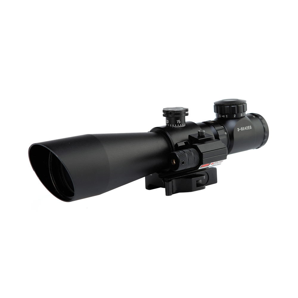 Tactical Red Laser Scope Sight 3-9x42EG Hunting Rifle Scope Red Green Dot Illuminated Telescopic Sight Riflescope postola air hot sale 2 5 10x40 riflescope illuminated tactical riflescope with red laser scope hunting scope