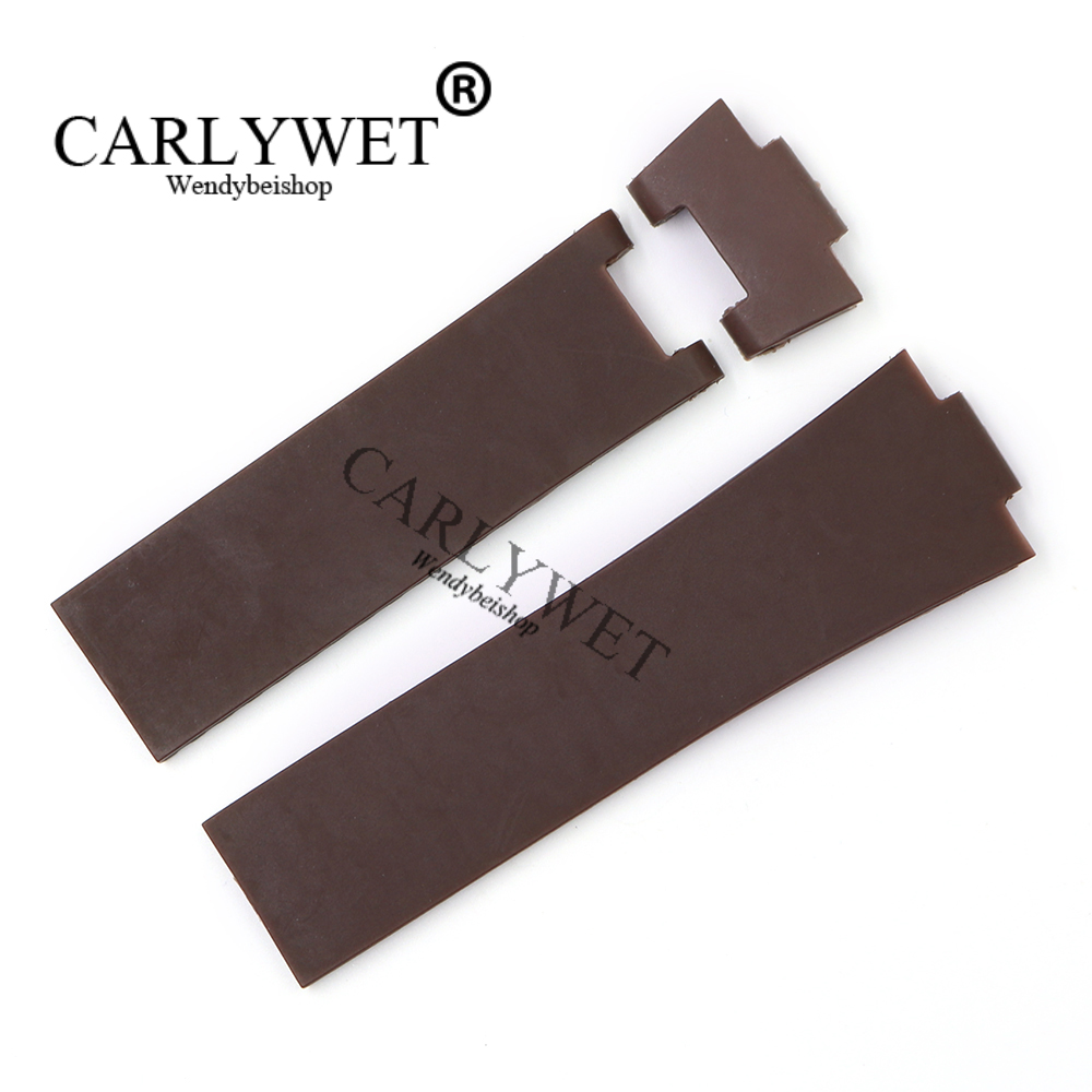 CARLYWET 25*12mm Wholesale Newest Brown Waterproof Silicone Rubber Replacement Wrist Watch Band Strap Belt Without Buckle carlywet new style men women black strap silicone rubber replacement watch band belt special popular