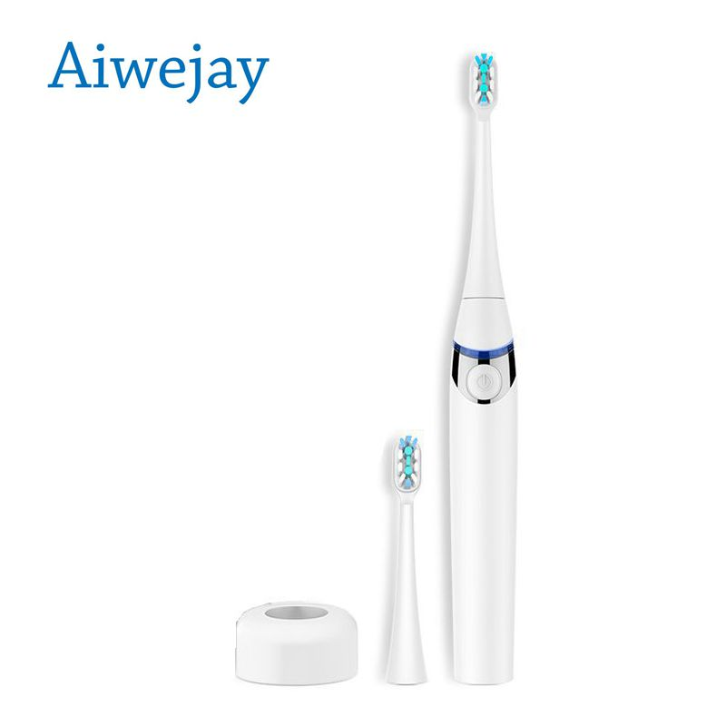 Aiwejay Waterproof Electric Toothbrush Sonic Wave Rechargeable With 2 Brush Heads of one Sensitive brush head Fro Adult