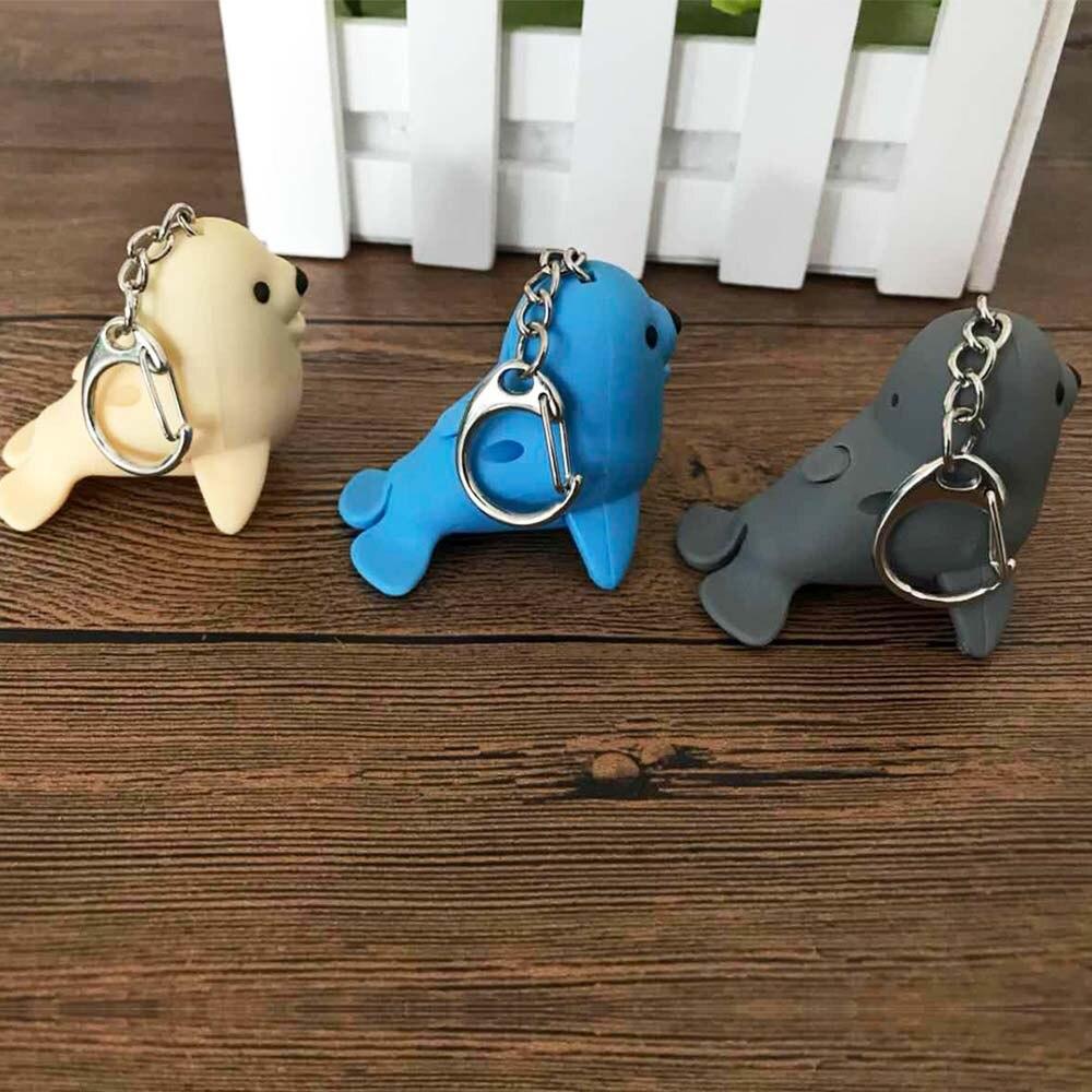 Mini Sea Lion Shape Flashlight LED Lights Luminous Vocal Key Chain Accessories