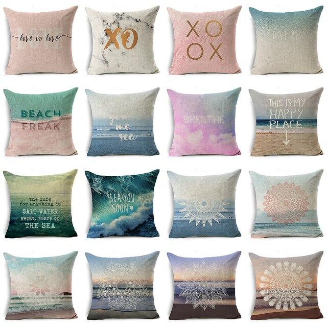 Mrl Printed Cotton Linen Cushion Cover Sofa Throw Pillow Beach Mandala Letter Home Decor Chair