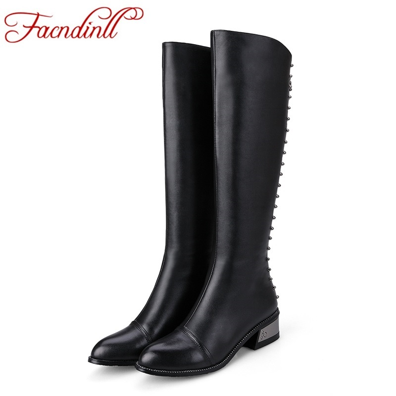 ФОТО genuine leather shoes woman knee high boots 2016 new women shoes long boots round toe high heels black zipper winter boots shoes