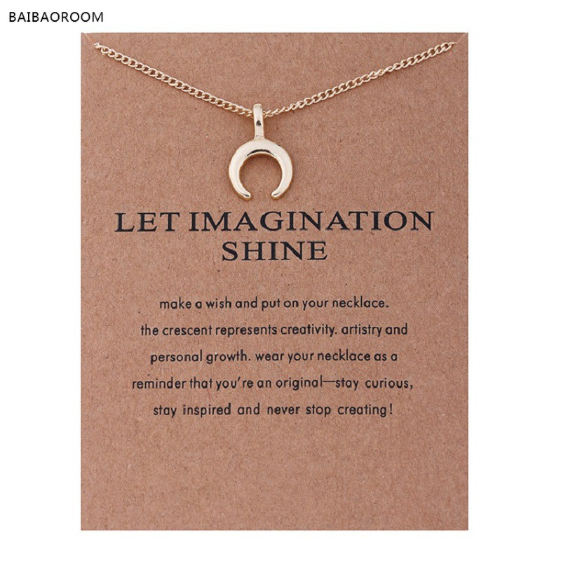 Fashion Jewelry Let Imagination Shine Crescent Card Moon Choker Necklace Women