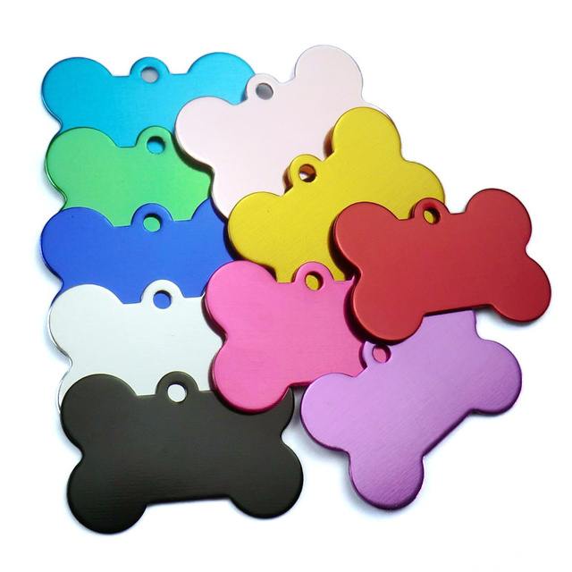 Wholesale 100Pcs Personalized Bone Dog ID Tags Customized Cat Puppy Name Phone Pet ID Tags Dog Cat Pet Tag Collar Accessories