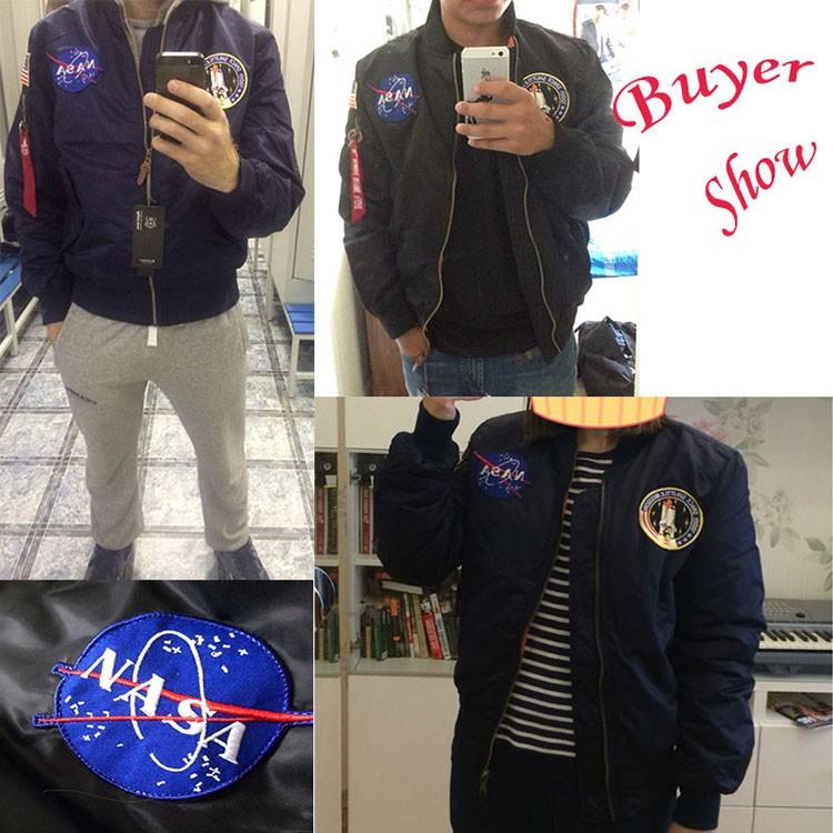 Men Bomber Flight Pilot Jacket Coat Thin Nasa Navy Flying Jacket Military Air Force Embroidery Baseball Uniform Army Green Black (1111)