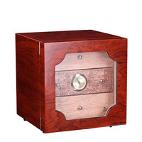 Wine Red High Glossy Piano Finish Cedar Wood Alcoholize Cigar Cabinet Humidor Storage Box W/ 3 Drawers Hygrometer Humidifier