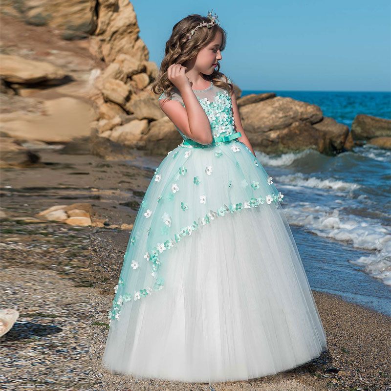 Elegant Lace Floral Appliques Flower Girls Dress Cute Mint Green Sleeveless Pearls Beaded Kids Pageant Ball
