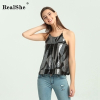 RealShe Sexy Sequins Camisole Tops Women Round Neck Sleeveless Tank Top Shirt 2017 Fashion Autumn New