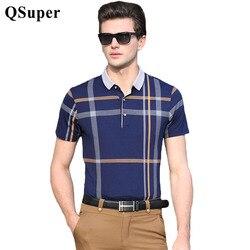 Qsuper 2017 summer modal cotton men polo shirts double plaid short sleeve slim fit business casual.jpg 250x250