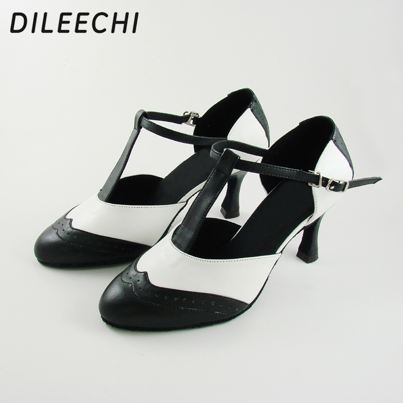 Image 4 - DILEECHI Brand White Real leather T Strap Latin modern dance shoes Women's High heels 7.5cm Autumn and Winter Black party shoes-in Dance shoes from Sports & Entertainment