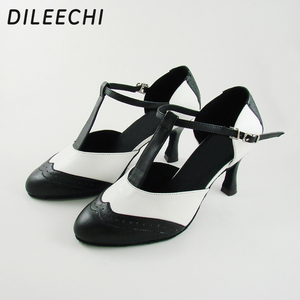 Image 4 - DILEECHI Brand White Real leather T Strap Latin modern dance shoes Womens High heels 7.5cm Autumn and Winter Black party shoes