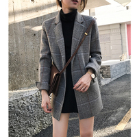 New Spring Women Jackets Plaid wool t Office Lady Coat Suit Jacket Business Female Casual Long Sleeve Blazers