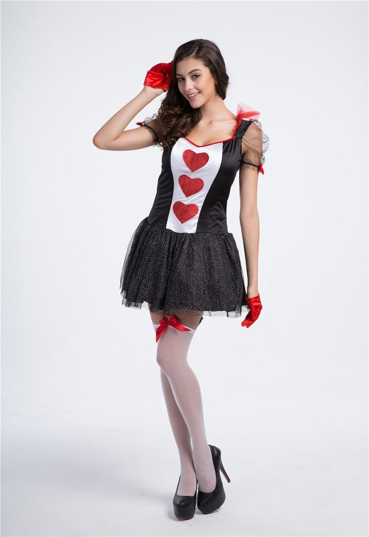 Halloween Queen Costume Heart Playing Cards Queen Dress Las Vegas ...