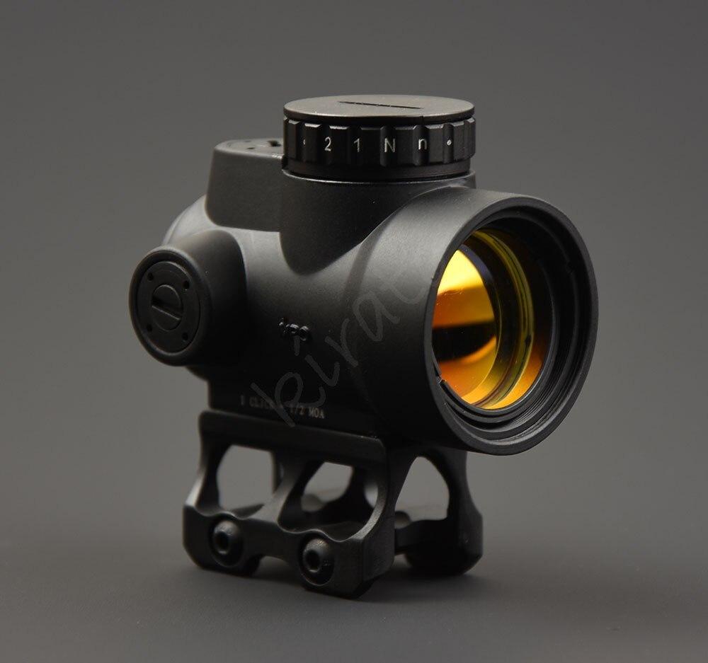 Tactical trijicon stile MRO 1x red dot sight scope con alta e Bassa picatinny per montaggio su guida base di caccia di tiro M9159Tactical trijicon stile MRO 1x red dot sight scope con alta e Bassa picatinny per montaggio su guida base di caccia di tiro M9159