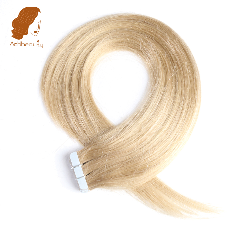 Addbeauty Straight Hair Tape In Hair Skin Weft 27 Honey Blonde Color 100 Brazilian Remy Human