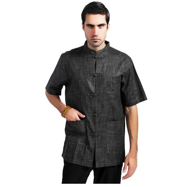Xadrez preto tradicional chinesa homens camisa Kung Fu camisa de linho de algodão Totem Vintage Casual Tops tamanho ml XL XXL XXXL MS077