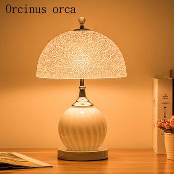 Modern minimalist creative study bedroom lamp lamp glass bedside lamp light warm warm wedding celebration