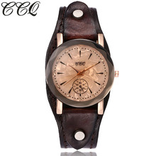 CCQ Brand Vintage Cow Leather Simple Bracelet Watch Casual Unisex Women Men Leather Quartz Wristwatches Clock Gift Montre Femme