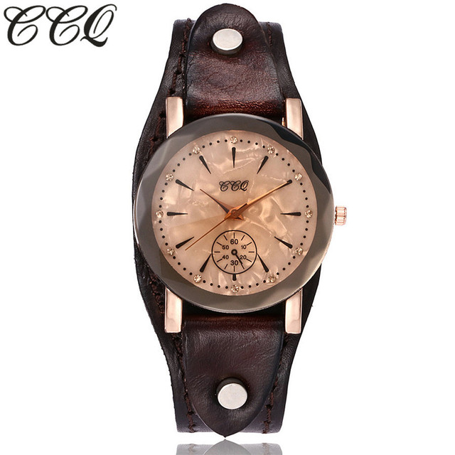 CCQ Brand Vintage Cow Leather Simple Bracelet Watch Casual Unisex Women Men Leat