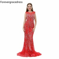 Forevergracedress Sexy Mermaid Evening Dress Crew Neck Sleeveless Heavy Beaded Long Formal Party Gown Plus Size Custom Made