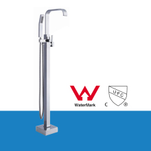 WELS AND CUPC Brass Chrome Single Lever Free Standing Bathroom Tub Faucet Set Floor Mount with Handheld Shower