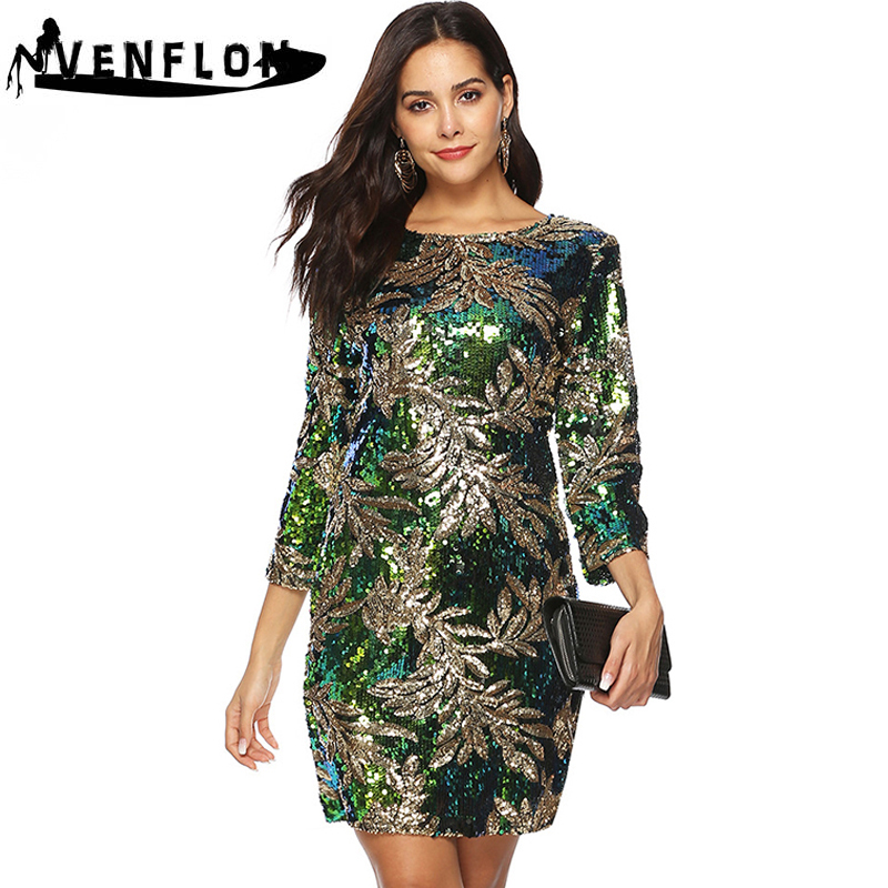 VENFLON Slim Vintage Spring Summer Dress Women 2019 Casual Green Sequin Party Dress Female Sexy Elegant Mini Bodycon Dresses 2XL