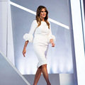Melania Trump Simple White Knee-Length Sheath Celebrity Dresses with Lantern Half Sleeves Back Slit Pleats Party Gowns