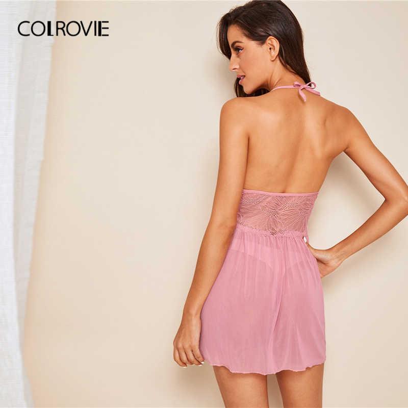 COLROVIE розовое однотонное контрастное кружевное сексуальное ночное платье на бретельках для женщин 2019 летнее сексуальное ночное белье без рукавов женские ночные рубашки