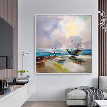 Free shipping Handmade boat sailing Oil Painting On Canvas Abstract landscape flower painting Wall Art picture for Living Room