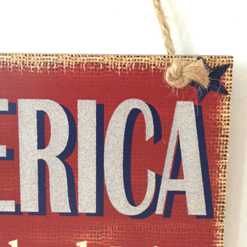 Image 4 - Rustic Wooden Hanging Plaque Sign Board America God Shed His Grace On Thee Room Wall Door Home Decoration Gift-in Plaques & Signs from Home & Garden
