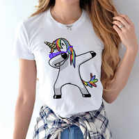 Dabbing Unicorn T Shirt Female 2017 Spring Summer Woman Fashion Tops Ladies Tee Shirts Casual Short