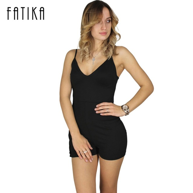 FATIKA Verano de Las Mujeres Hollow out Side Lace up Body Mamelucos Para Mujer Mono Atractivo Backless Negro Shorts Bodycon Buzos