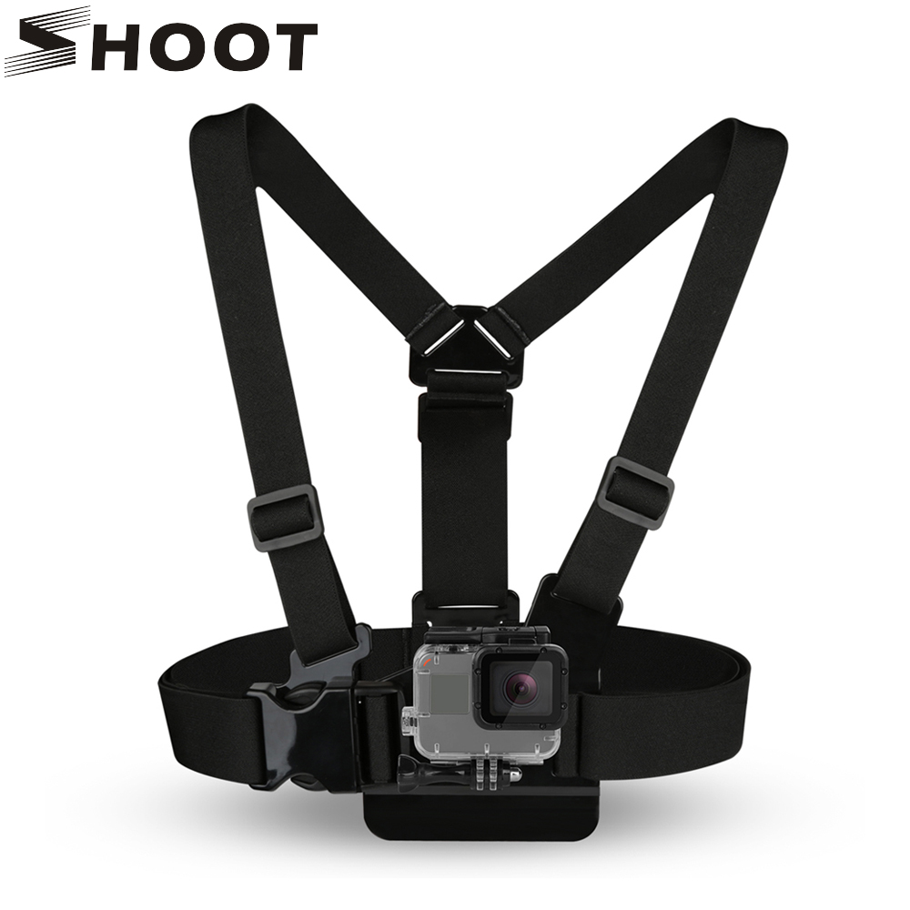 SHOOT Adjustable Harness Chest Strap Mount For GoPro Hero 7 6 5 4 SJCAM SJ4000 h9 Eken Yi 4K Camera Strap for Go Pro 6 Accessory shoot action camera accessories set for gopro hero 5 6 3 4 xiaomi yi 4k sjcam sj4000 h9 chest strap base mount go pro helmet kit