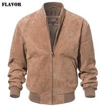 Kожаная куртка мужская бомбер FLAVOR, бежевая бейсбольная куртка из натуральной свиной кожи, кожаный жакет для мужчин, на весну-осень