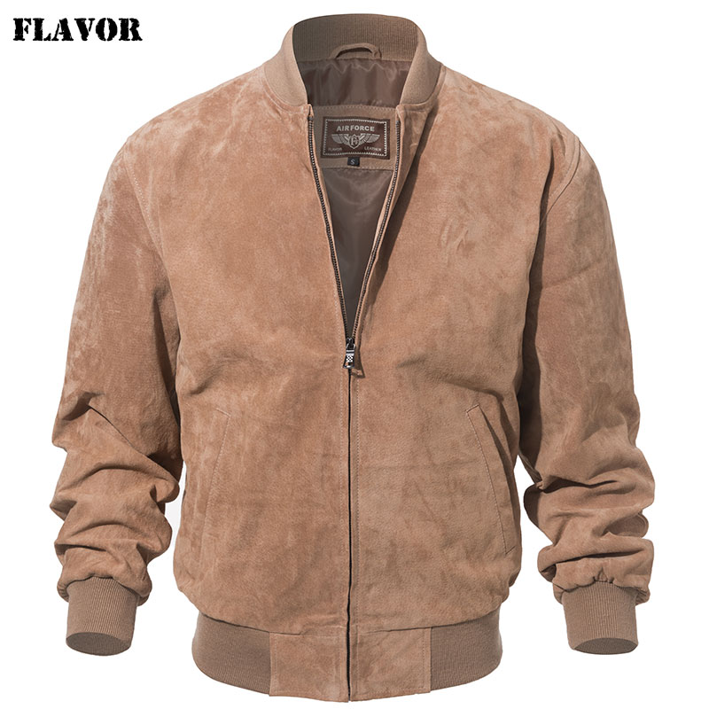 FLAVOR Men Classic Real Pigskin Coat Genuine Baseball Bomber Leather Jacket
