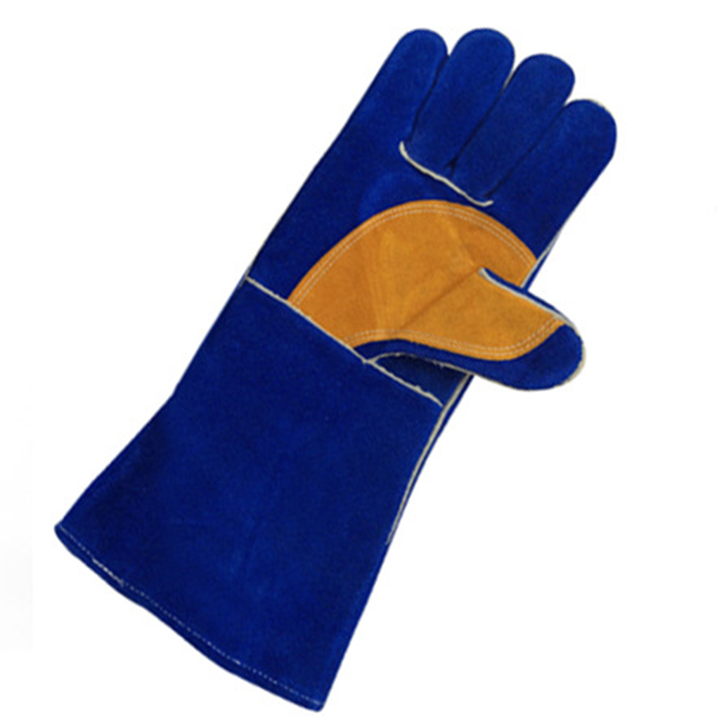 Inexpensive leather work gloves - High Quality Blue Yellow Insulated Grip Cowhide Leather Work Gloves Safety Gardening Gloves Reusable