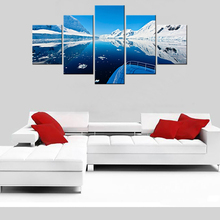 Canvas Living Room Pictures Home Decor 5 Panel Lake Snow Mountain Painting Wall Art Modular Poster Framework HD Printed Modern