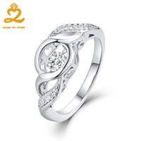 Authentic 925 Sterling Silver Ring Knot Stackable Jewelry Micro Pave CZ Dancing Design For Women Wedding