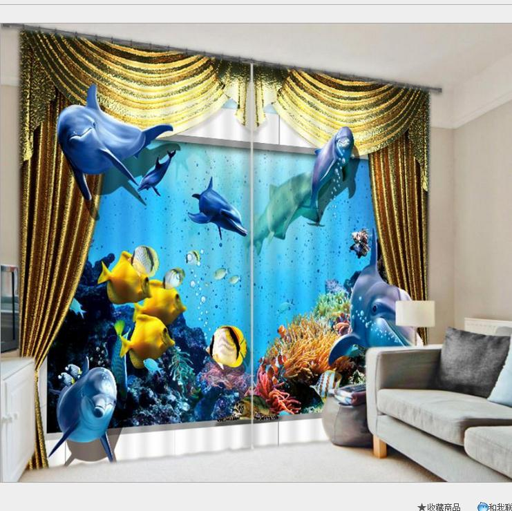 The Undersea World 3D Printing Thick Sunshade Window Curtains Bedding Living Room or Hotel Cortians Aquarium Printing image