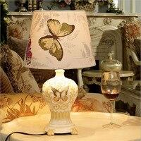 Творческая Европа современный элегантный смолы Ткань бабочки LED E27 настольная лампа для свадебного декора Гостиная Спальня AC 80 265 В 1308