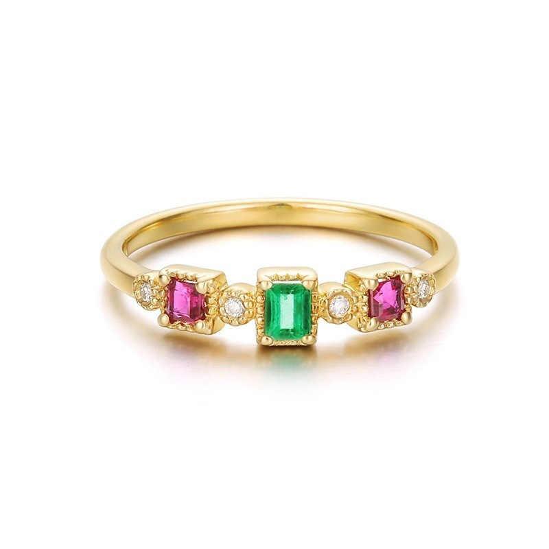 ROAMD رائعة الأخضر خاتم كريستال روز الأحمر الزركون الاشتباك خواتم الزفاف للنساء مجوهرات الأزياء باجي حجم 6-10 R4