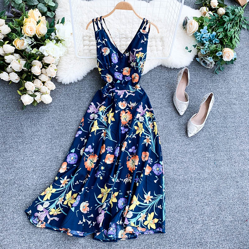 Женское платье с цветочным принтом Boho, винтажное длинное платье средней длины на бретельках с открытой спиной, повседневное пляжное платье для отдыха на лето|Платья|   | АлиЭкспресс