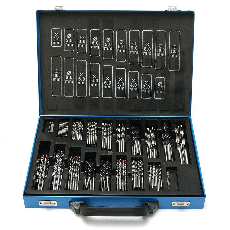160pcs HSS High Speed Steel Metric Twist Drill Bit Set Metal Case 1mm - 13mm Ti Coated стоимость